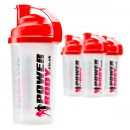 Shaker PowerBody, Clear and Red - 700 ml.