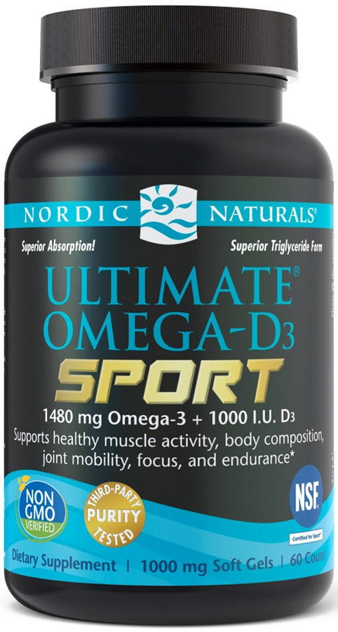 Nordic Naturals Ultimate Omega D3 Sport 1480mg Lemon 60 Softgels
