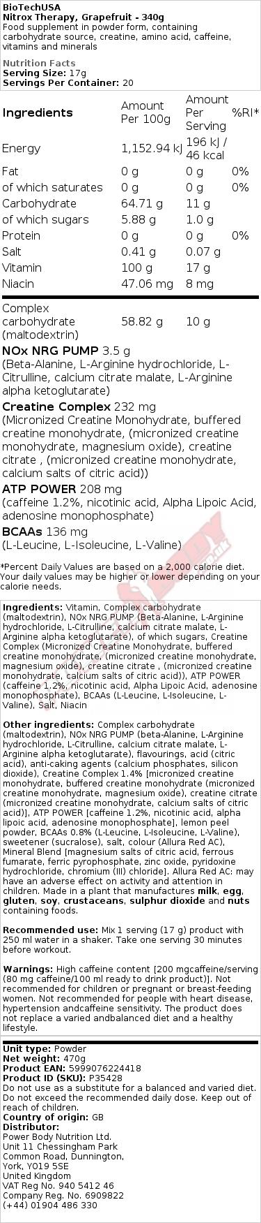 Nitrox Therapy, Grapefruit - 340g